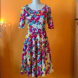 Unicorn Lularoe colorful flowered Nicole dress